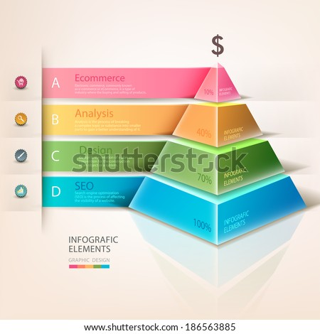Colored pyramid info graphics. For workflow layout, diagram, number options, step up options, web design, infographics. Business development. A successful business. Promotion and advertising business. - stock vector
