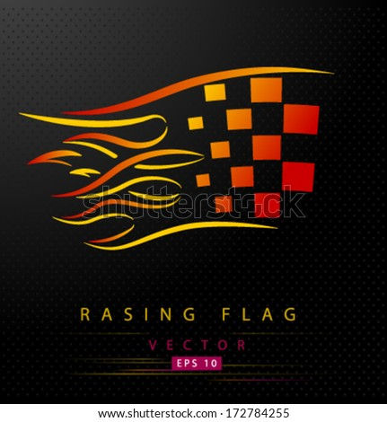 Colored racing flag with flames - stock vector