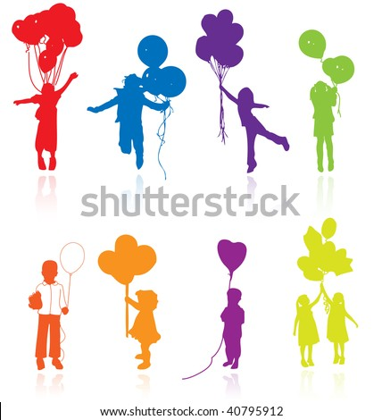 Colored reflecting silhouettes of playing, jumping children with balloons. - stock vector