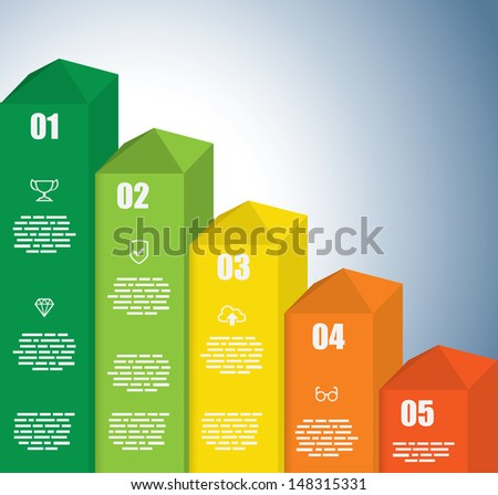 Colored Rising Graph - stock vector