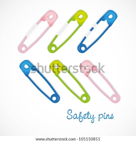 colored safety pins, isolated on white background - stock vector