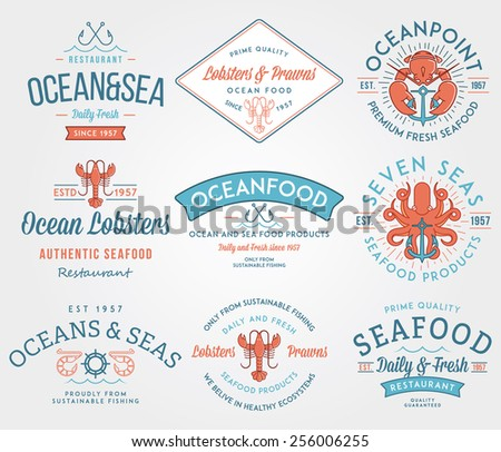 Colored seafood labels and badges vol. 3 for any use - stock vector