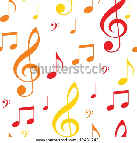 Colored seamless texture musical notes - stock vector