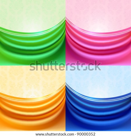 Colored set curtain, silk tissue - stock vector