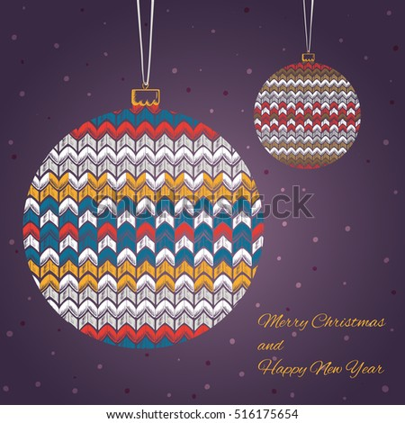 Colored set chalk drawn knitted christmas stock vector 516175654 colored set of chalk drawn knitted christmas ball with text on purple background with snow aloadofball Images
