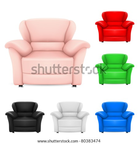 Colored set of stylish chairs. Illustration on white background - stock vector