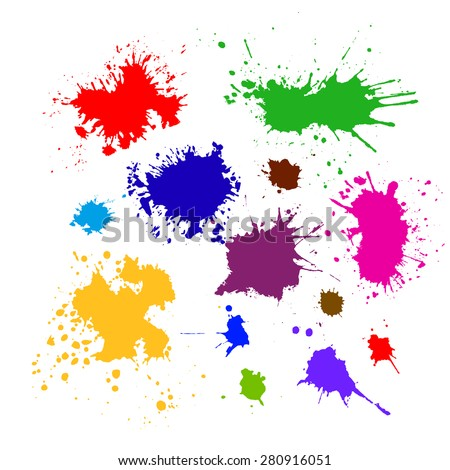Colored silhouette set of ink blots. Vector - stock vector