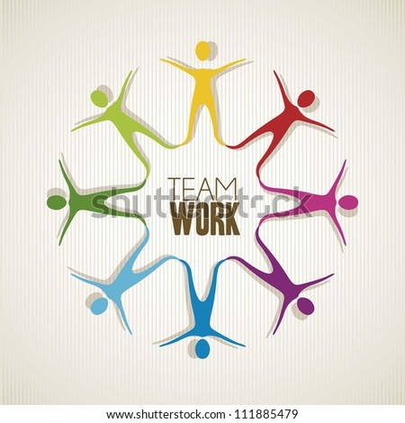 colored silhouettes of people holding hands, teamwork, vector illustration - stock vector