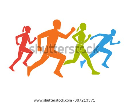 Colored silhouettes of runners. Flat vector figures marathoner. Flat running symbol. Vector running and marathon logo. Flat shapes runners. - stock vector