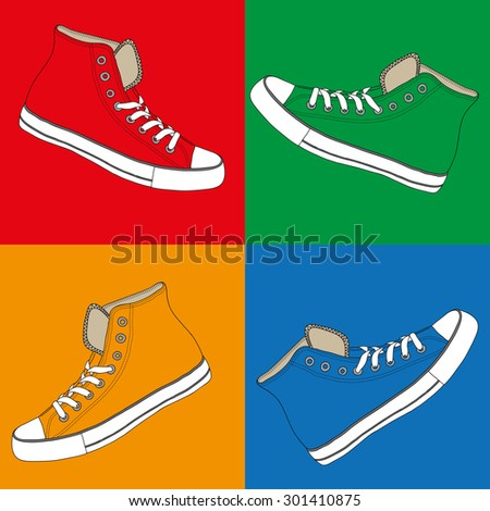 colored sneakers set - stock vector