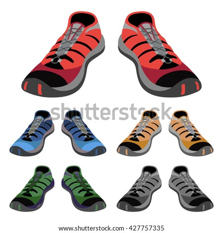 Colored sneakers shoes set front view, vector illustration isolated on white background