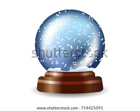Colored snow globe composition on white background with shadows and lights vector illustration