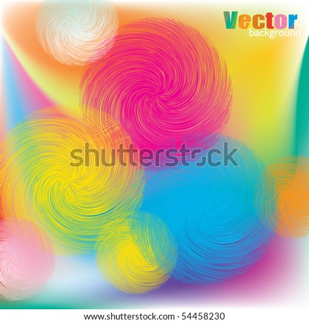 Colored spirals vector background - stock vector