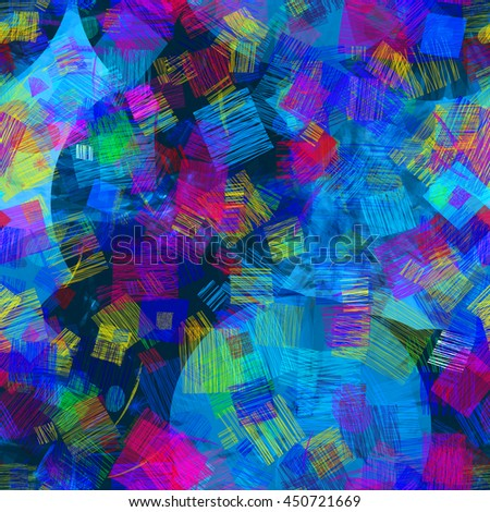 Colored square patches of strokes, circles. Colorful abstract vector pattern. The predominance of blue. Easy editing. - stock vector