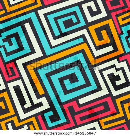 colored square spiral pattern with grunge effect - stock vector