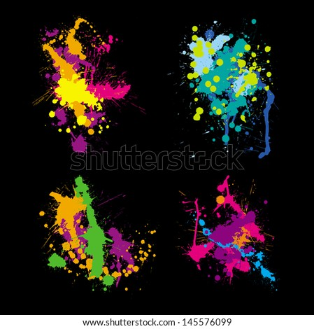 colored stains blots - stock vector