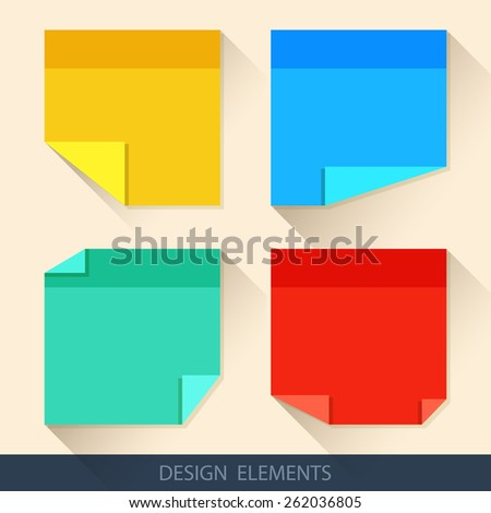 Colored stickers, paper for notes in a flat style with curved corners - stock vector