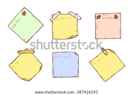 Colored stickers. Sticky notes Vector set. Hand drawn doodle paper sheets for messages. Collection of memos blank - stock vector