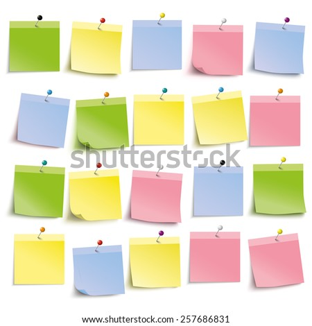 Colored stickers with pins on the white background. Eps 10 vector file. - stock vector