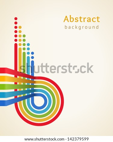 Colored stripes with circles, vector. Design template. - stock vector