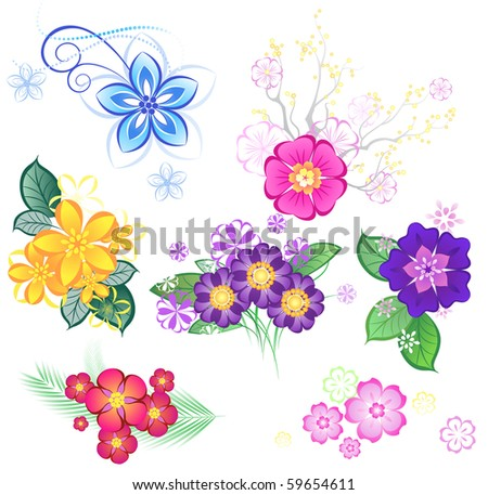 colored stylized flowers on a white background. - stock vector