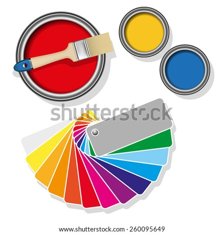 Colored swatches and paint cans with paintbrush on white background. Vector illustration - stock vector
