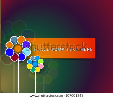 colored swirly with retro floral elements  banner design - stock vector