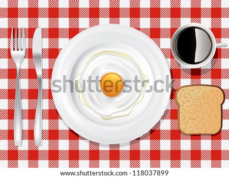 Colored tablecloth drawing on the breakfast table - stock vector