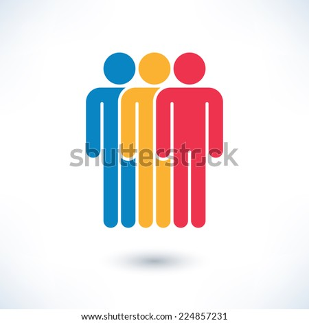 Colored three people (man figure) with gray drop shadow isolated on white background in simple flat style. Graphic clip-art design elements save in vector illustration 8 eps - stock vector