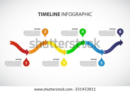 Colored Timeline vector Infographic template, consisting of 6 arrows - stock vector