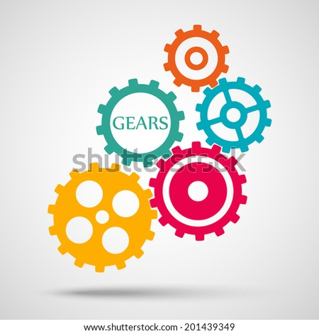 colored toothed gears (cogs) is meshed on gray background. vector illustration eps10 - stock vector