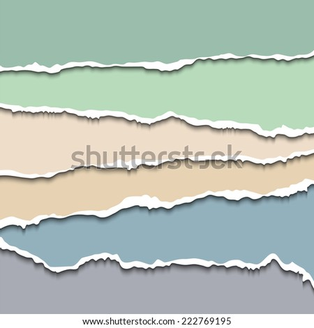 Colored torn paper pastel background. Vector EPS10 illustration isolated on white background. Design elements - multi colored torn paper - stock vector