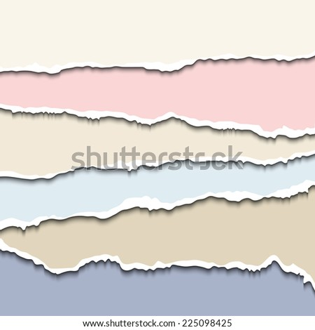 Colored torn paper pastel pieces. Vector EPS10 illustration. Design elements - multi colored paper with ripped edges - stock vector