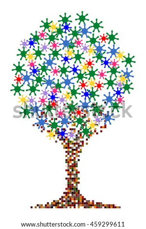Colored tree with leaves in a star shape and circular canopy tree
