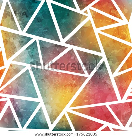 colored triangle seamless pattern with grunge effect - stock vector