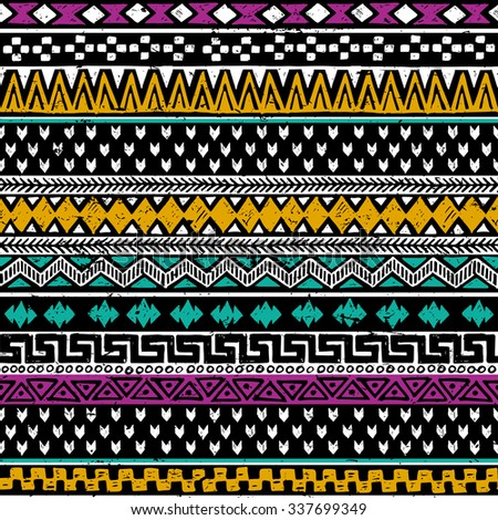 colored tribal Navajo seamless pattern. aztec grunge abstract geometric art print. ethnic hipster backdrop.  Wallpaper, cloth design, fabric, paper, wrapping, postcards, textile. hand drawn.    - stock vector