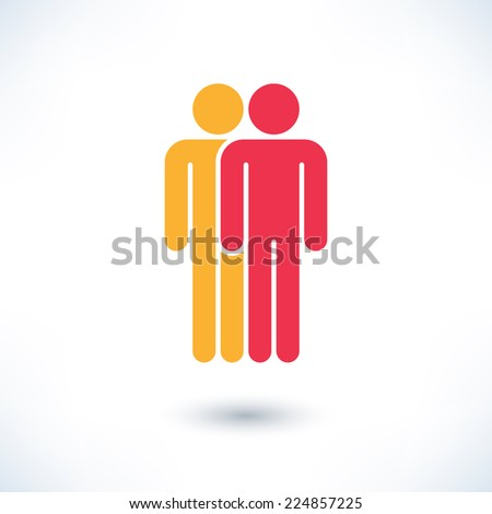 Colored two people (man figure) with gray drop shadow isolated on white background in simple flat style. Graphic clip-art design elements save in vector illustration 8 eps - stock vector