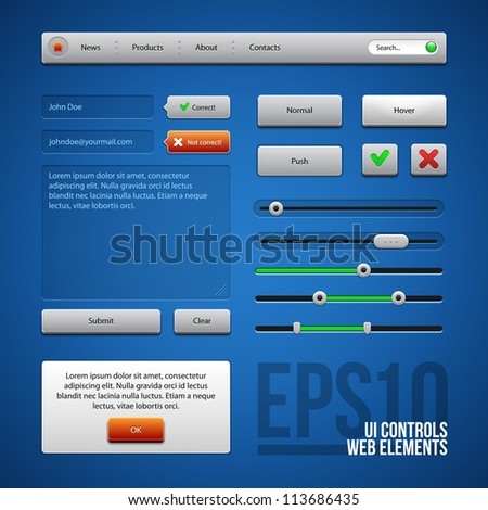 Colored UI Controls Web Elements, Blue, Gray, Red, Green: Buttons, Comments, Sliders, Message Box - stock vector