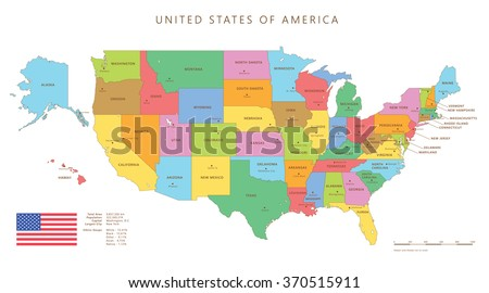 Colored united states map with names and capitals - stock vector