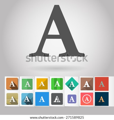"""Colored vector flat """"A"""" letter, formatting text sign square icon and buttons set. Design elements on paper styled background - stock vector"""