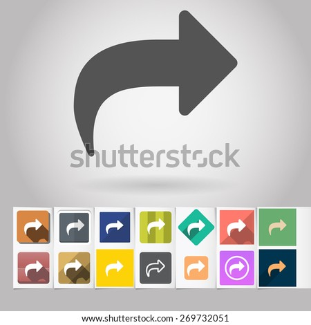 Colored vector flat Return arrow square icon and buttons set. Design elements on paper styled background - stock vector