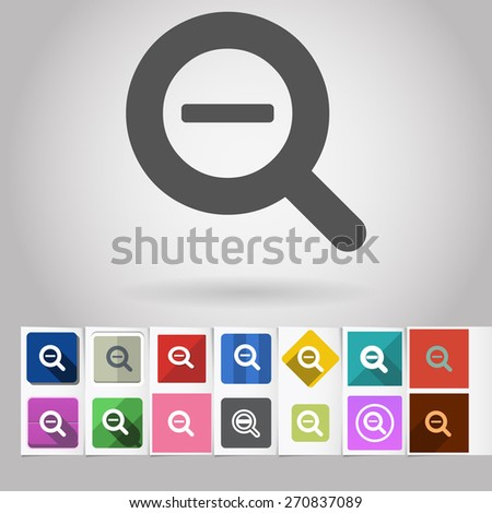 Colored vector flat Zoom out loupe cursor square icon and buttons set. Design elements on paper styled background - stock vector
