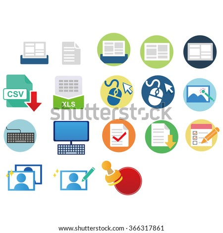 colored vector icons for office work. - stock vector