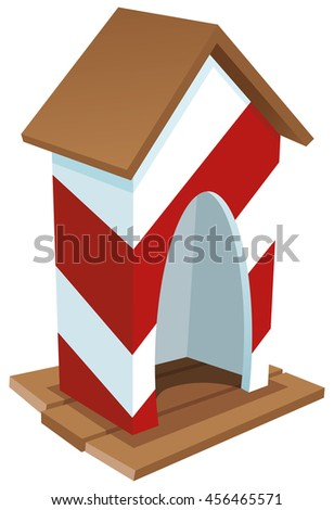 Colored Vector Illustration Of A Red And White Guardhouse
