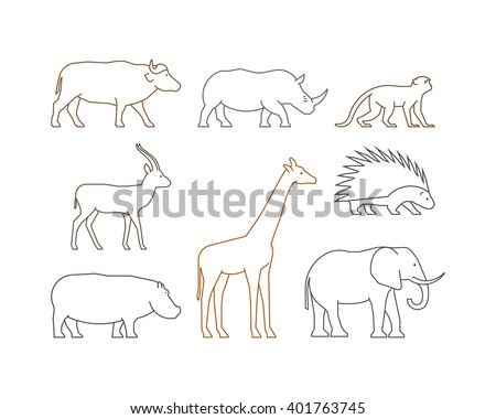 Colored vector line set of african animals. Outline isolated silhouettes african animals. Line icons gazelle, rhino, monkey and elephant. - stock vector