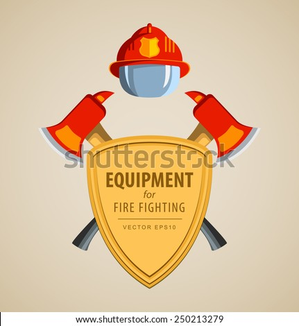 Colored vector vector illustration, icon. Firefighter Emblem or volunteer. Shield, ax, fireman helmet. Element for the magnet on the fridge or print for a T-shirt. Red, yellow, brown. - stock vector
