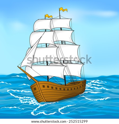 colored vintage sailing ship at sea and the sky - stock vector
