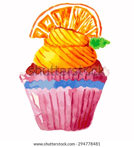 Colored watercolor cupcake. Vector sweet bakery. Can be used for greeting card, wedding invitation, party.