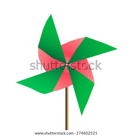 colored Windmill isolated on white background. vector illustration - stock vector