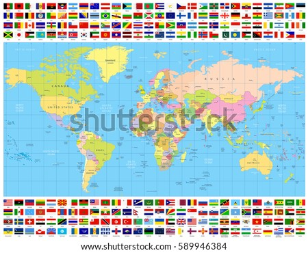 Colored world map all world flags stock vector hd royalty free colored world map and all world flags collection all elements are separated in editable layers gumiabroncs Choice Image